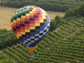 Flying on the clouds into an air balloon…